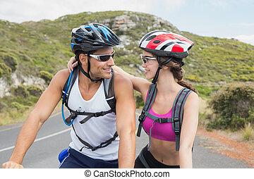 atletisk, fjäll, par, cykla