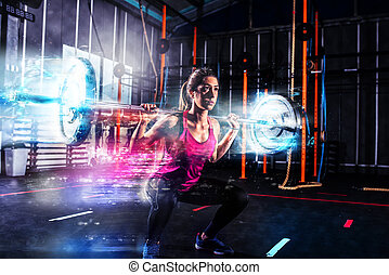 atletisk, flicka, arbeten, ute, hos, den, gymnastiksal, med, a, barbell, med, blå, energi, effekter