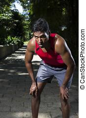 atletisk, indisk, man, ha en sönderbrytning, från, spring
