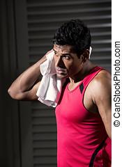 atletisk, indisk, man, vila, efter, exercise.