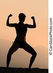 atletisk, kvinna