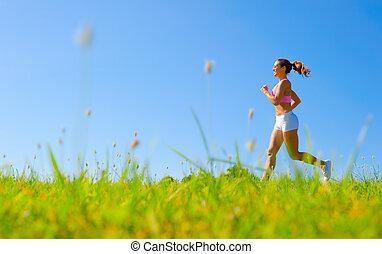 atletisk, kvinna, exercerande