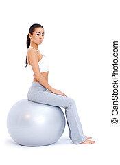 atletisk, kvinna,  fitness, avkopplande, boll