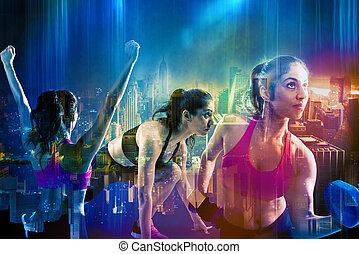 atletisk, kvinna, genomkörare, på, stad, bakgrund