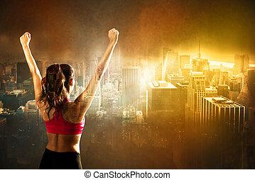 atletisk, kvinna, på, stad, bakgrund
