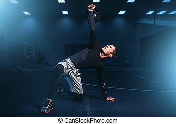 atletisk, man, på, utbildning, genomkörare, med, barbell