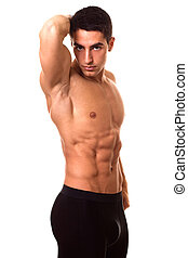 atletisk, man, shirtless