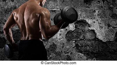 atletisk, man, utbildning, biceps, hos, den, gymnastiksal