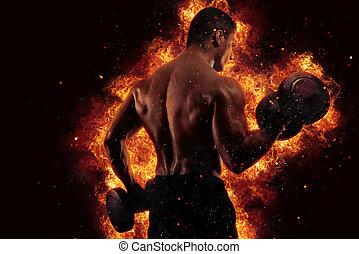 atletisk, man, utbildning, biceps, hos, den, gymnastiksal, med, eld, verkan