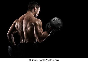atletisk, man, utbildning, biceps, på, svart fond
