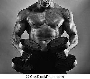 atletisk, man, utbildning, biceps