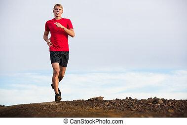 atletisk, manspring, joggning, utanför, utbildning