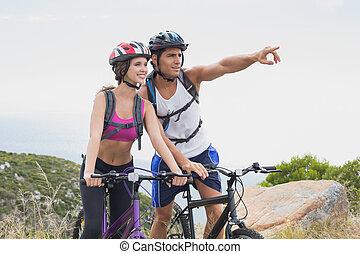 atletisk, par, cykla för mountain