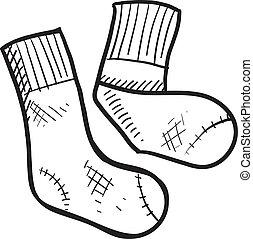 atletisk, rör, sockor, skiss