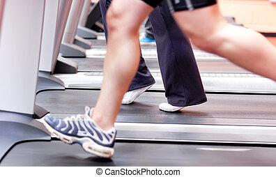 atletisk, spring, kvinna
