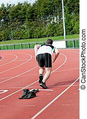 atletisk, spring, stadion, man
