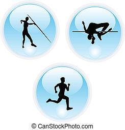 atletismo, cor esportes, ícone, botões