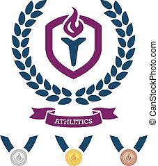 atletismo, emblema, y, medallas