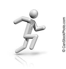atletismo, símbolo, 3d