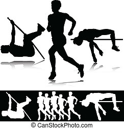 atletismo, vector, deporte, siluetas