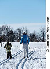 atletismos inverno, cruz-país esquia