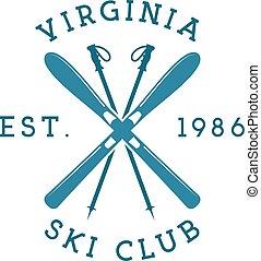 atletismos inverno, esqui, clube, label., vindima, montanha,...