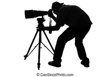 atletismos profissionais, fotógrafo, silueta