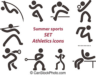 atletyka, komplet, ikony