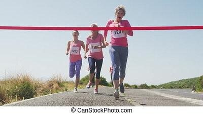 atletyka, kreska, kobiety, przybywając, koniec
