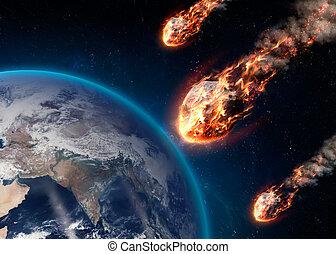atmósfera, entra, earth's, él, encendido, meteoro