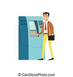 atm, 現金, イラスト, 機械, ベクトル, ビジネスマン, 使うこと