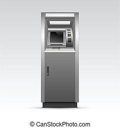 atm, aislado, cajero automático, vector, plano de fondo, banco