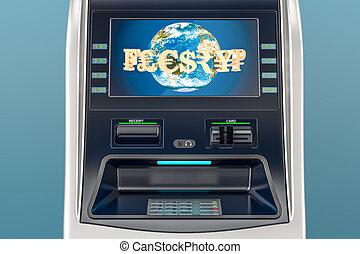 ATM, automated teller machine closeup. 3D rendering