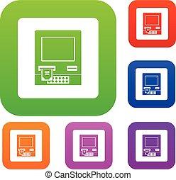 ATM bank cash machine set color collection