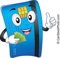 ATM Card Mascot - Mascot Illustration Featuring an ATM Card