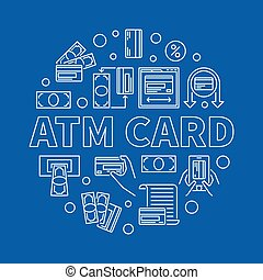 ATM Card vector round linear illustration on blue background