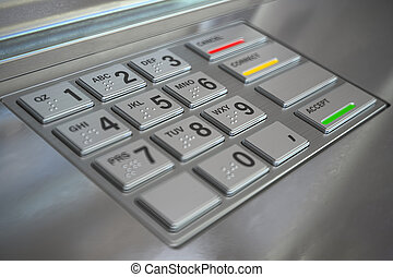 ATM cash machine keypad background.