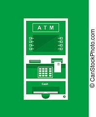 atm cash machine vector flat style illustration