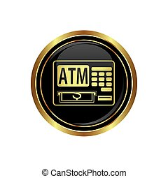 ATM cashpoint icon on black with gold button. Vector...