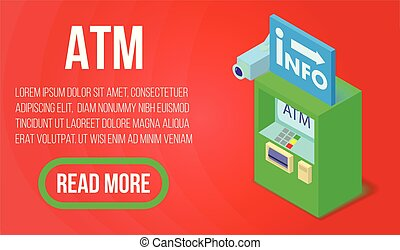 ATM concept banner, isometric style