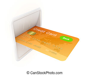 Atm concept. Isolated on white background.3d rendered ...
