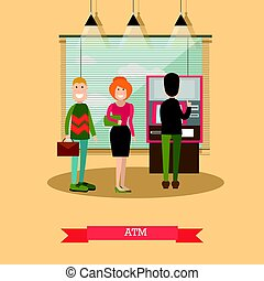 ATM concept vector illustration in flat style - Vector...