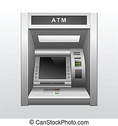 atm, efectivo, aislado, máquina, vector, banco