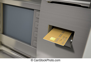 A closeup view of a generic atm facade with a bank card being iserted into the card slot on an isolated background