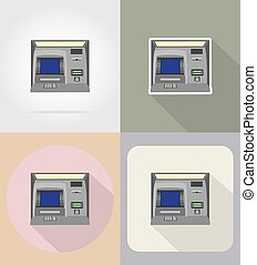 atm flat icons vector illustration