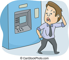 ATM Guy - Illustration of a Frustrated Man Walking Away from...