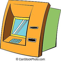 ATM icon cartoon - ATM icon in cartoon style isolated vector...