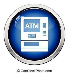 ATM icon. Glossy button design. Vector illustration.