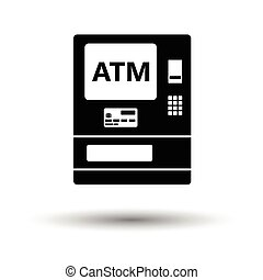 ATM icon. White background with shadow design. Vector...