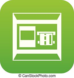 ATM icon digital green for any design isolated on white...